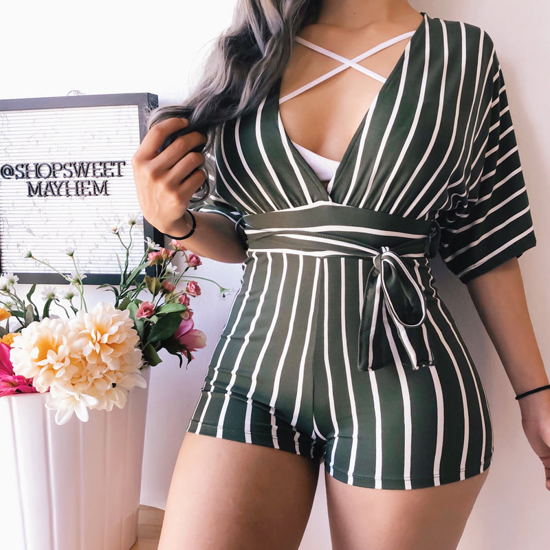 KIRA STRIPED ROMPER (OLIVE)