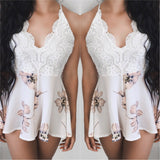 Corinne Floral Open Back Playsuit (WHITE)