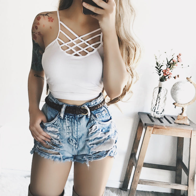 Ariel Caged Top (WHITE) - FULLY STOCKED