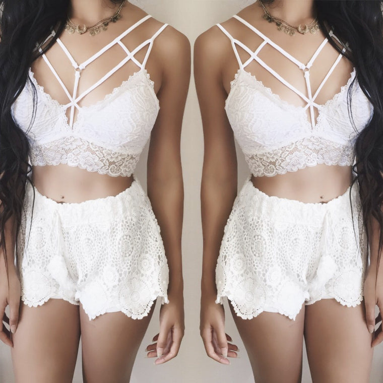 Celina Caged Lace Bralette (WHITE) - FULLY STOCKED