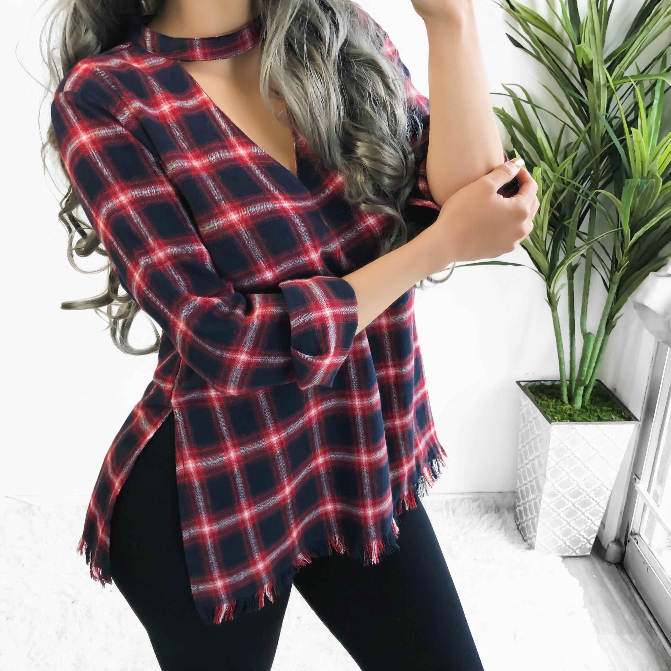 SALE! ALEXA CUT OUT PLAID TOP