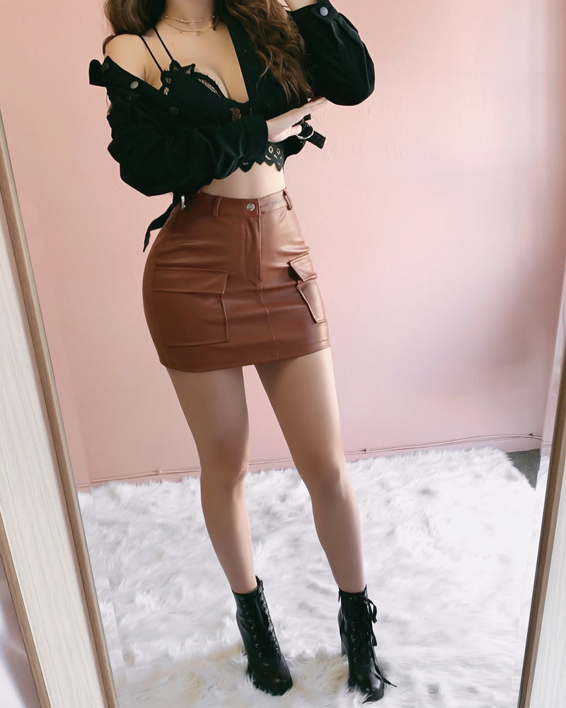 TALK THAT TALK LEATHER SKIRT (CAMEL)