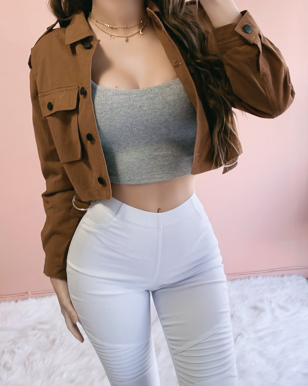 LAST STOCK!! KEEP IT CASUAL CROPPED JACKET (CAMEL)