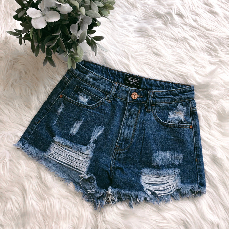 RESTOCKED! Demi High Waisted Distressed Shorts - LARGE