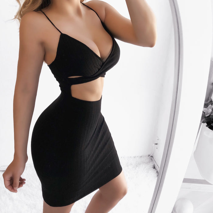 Kimmie Ribbed Cut Out Dress (BLACK) - LARGE