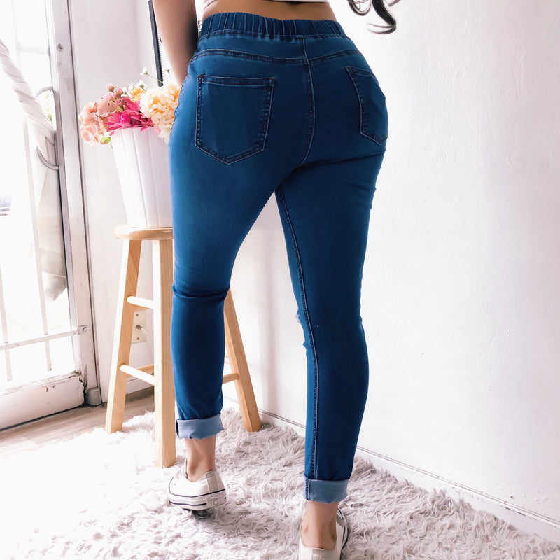 DRAYA DISTRESSED KNEE DENIM JOGGERS (LIGHT WASH)