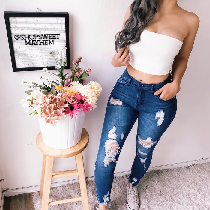 JUDY DISTRESSED DENIM JEANS (LIGHT)