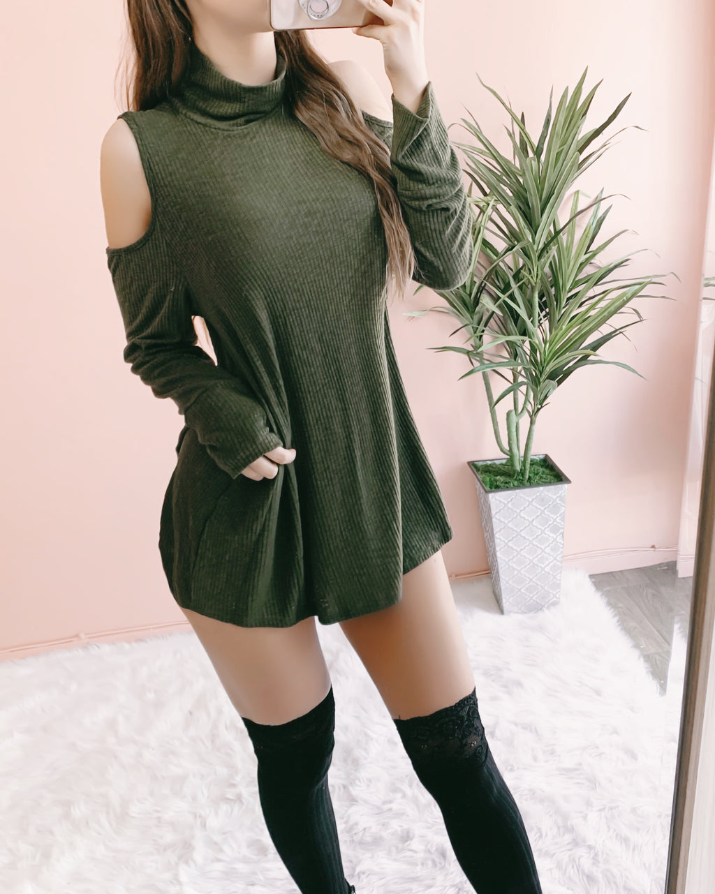 BETSEY HIGH NECK TOP/DRESS (OLIVE)