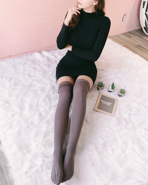 RESTOCKED! LILLY LACE THIGH HIGH SOCKS (DEEP TAUPE)