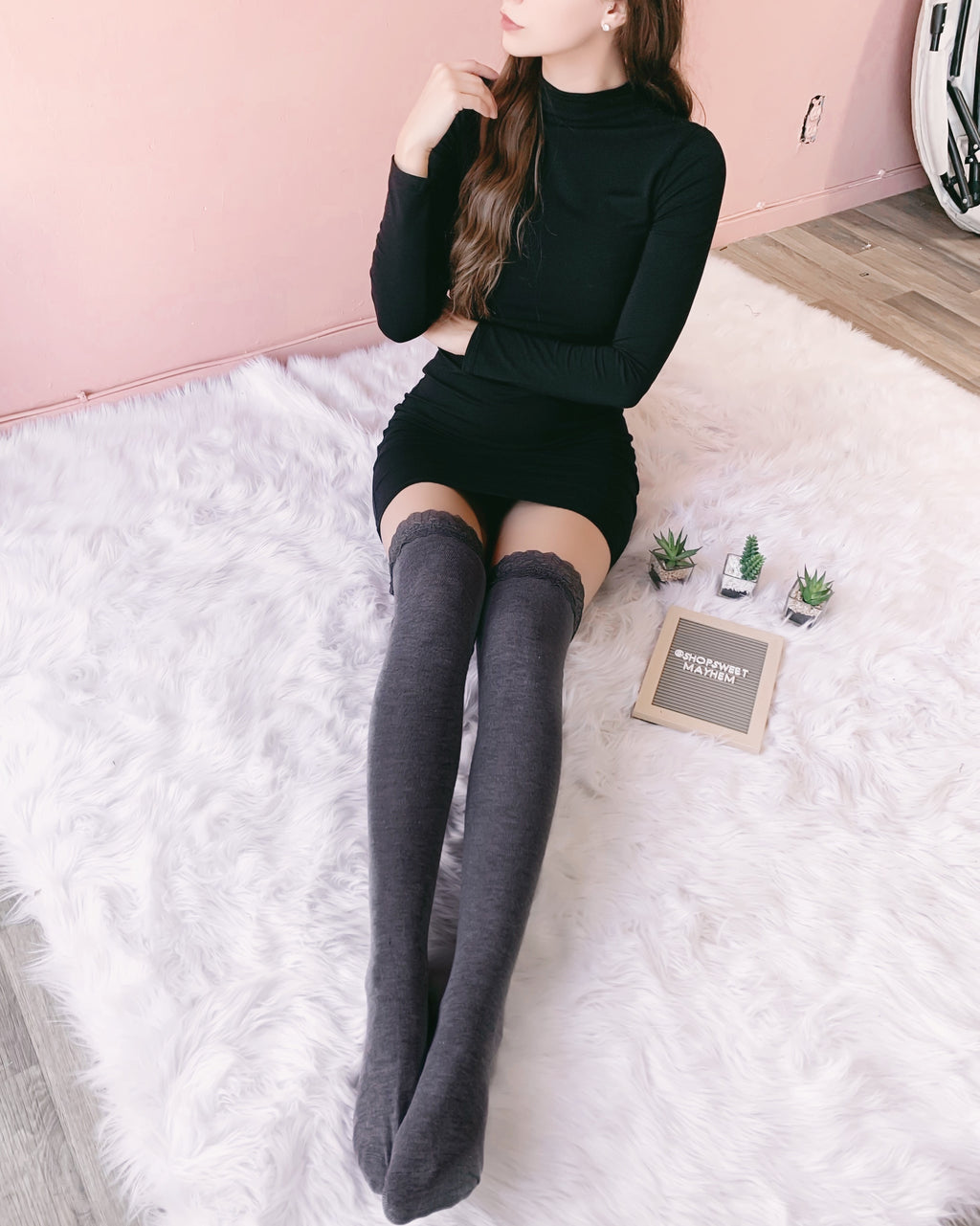 RESTOCKED! LILLY LACE THIGH HIGH SOCKS (CHARCOAL)