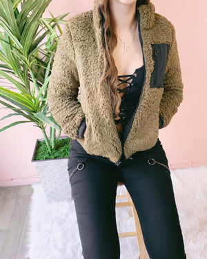 REVERSIBLE!! SHAYNA TEDDY PADDED JACKET (BLACK/OLIVE)
