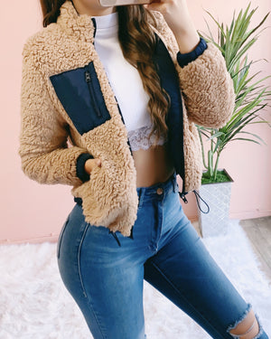 RESTOCKED! REVERSIBLE! SHAYNA TEDDY PADDED JACKET (NAVY/CAMEL)