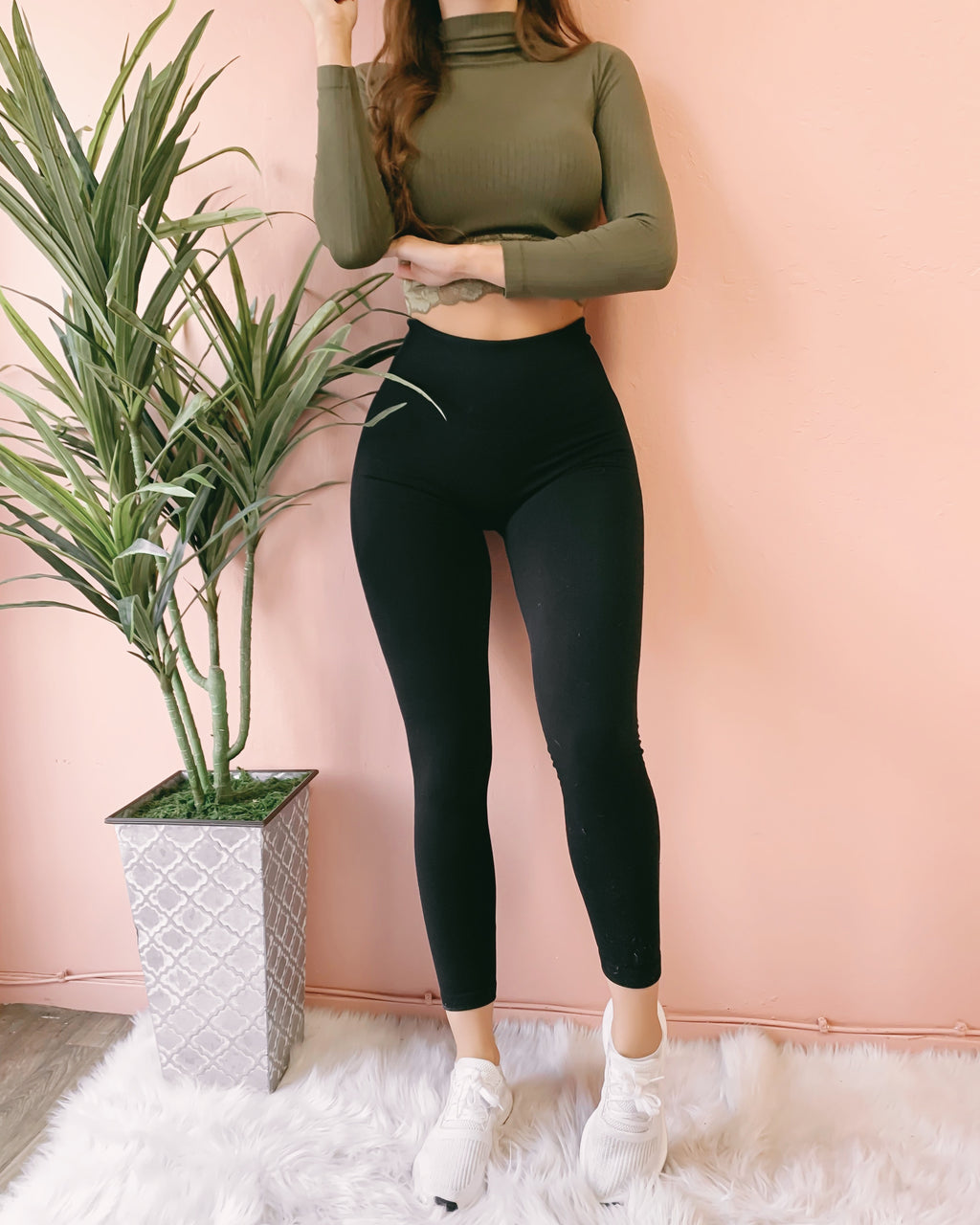 FIREPLACE FLEECE HIGH WAIST LEGGINGS (BLACK)