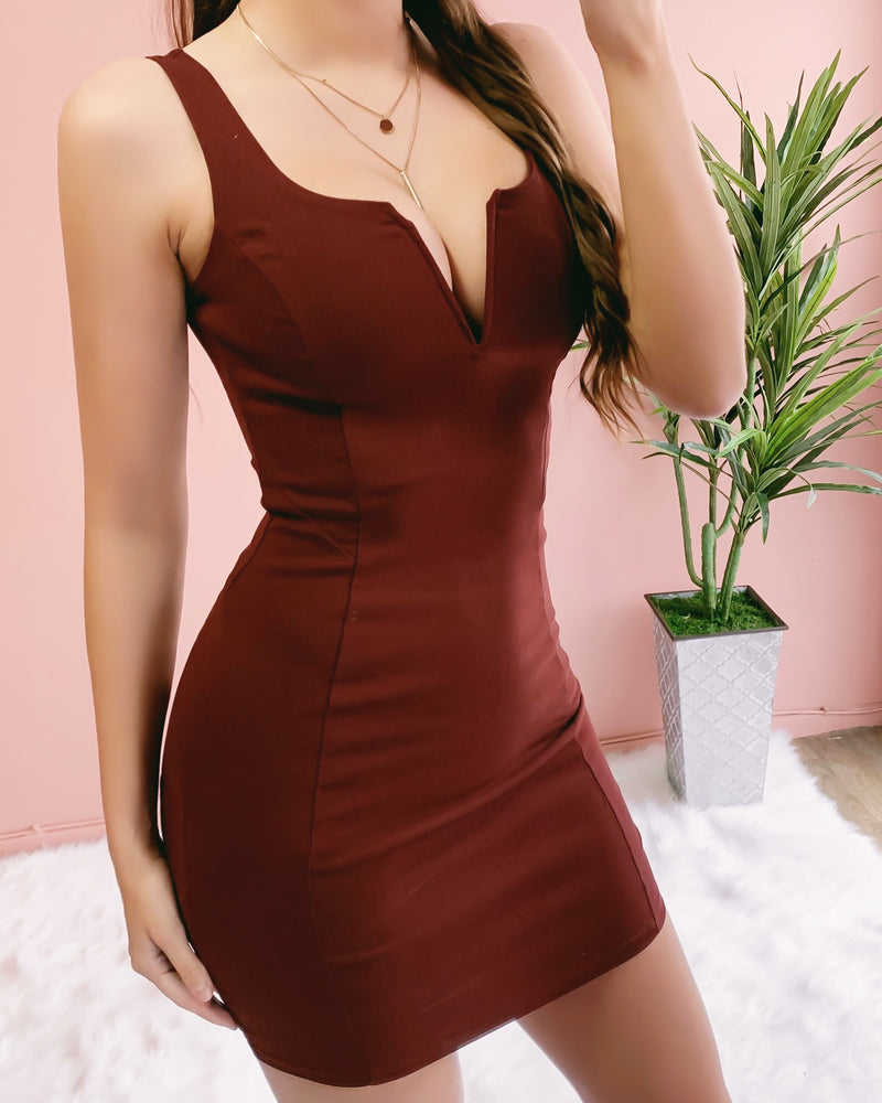 RESTOCKED! DATE ME DRESS (DARK RUST)