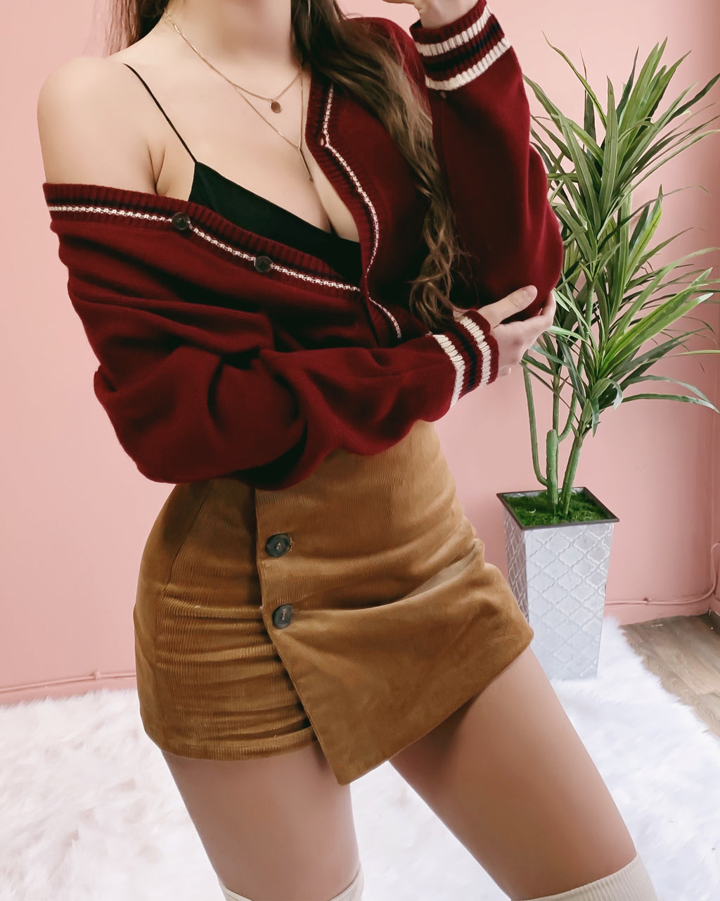RESTOCKED! GISELLE CROPPED CARDIGAN (BURGUNDY) (PO)