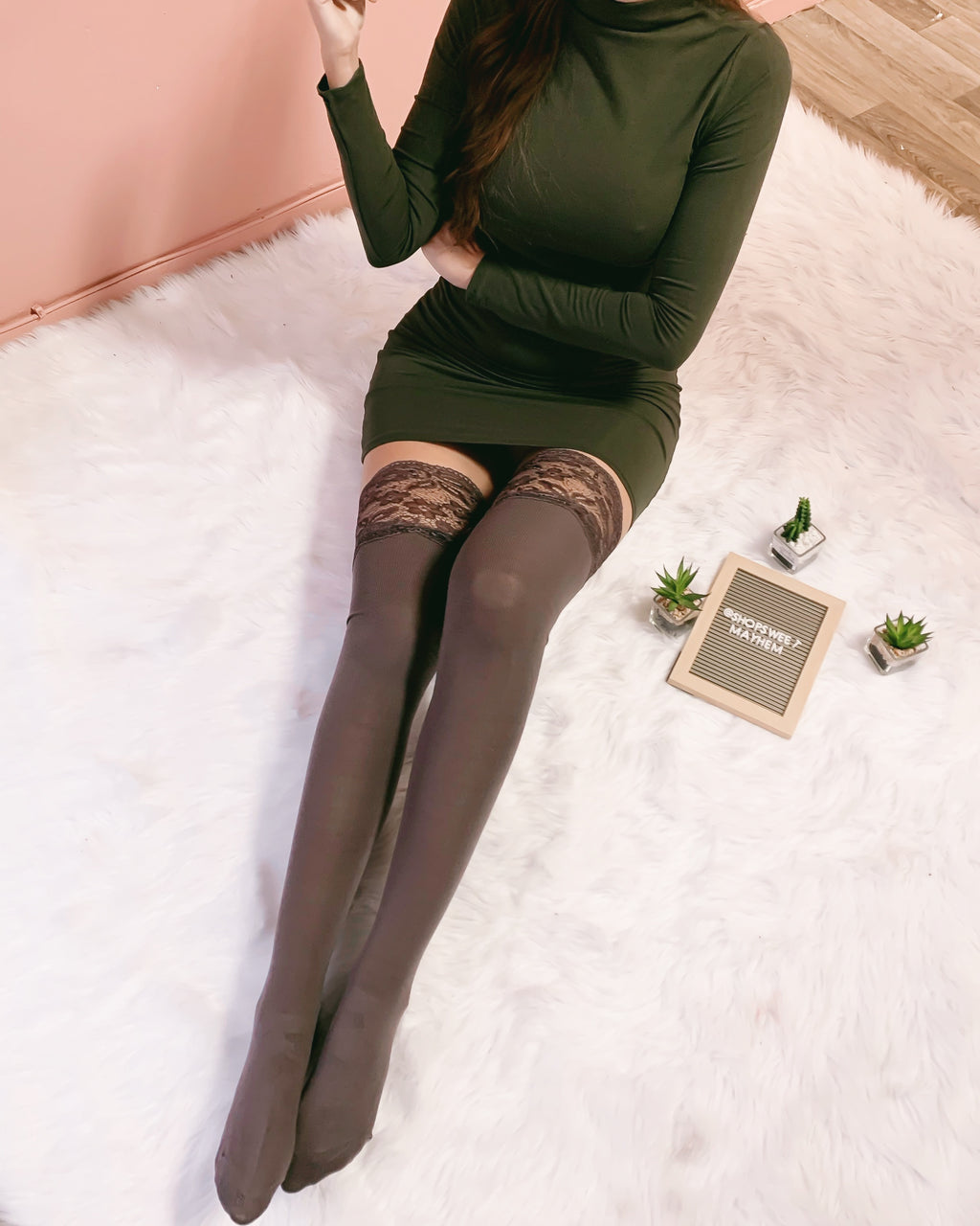 RESTOCKED! DELILAH LACE THIGH HIGH SOCKS (DEEP TAUPE)