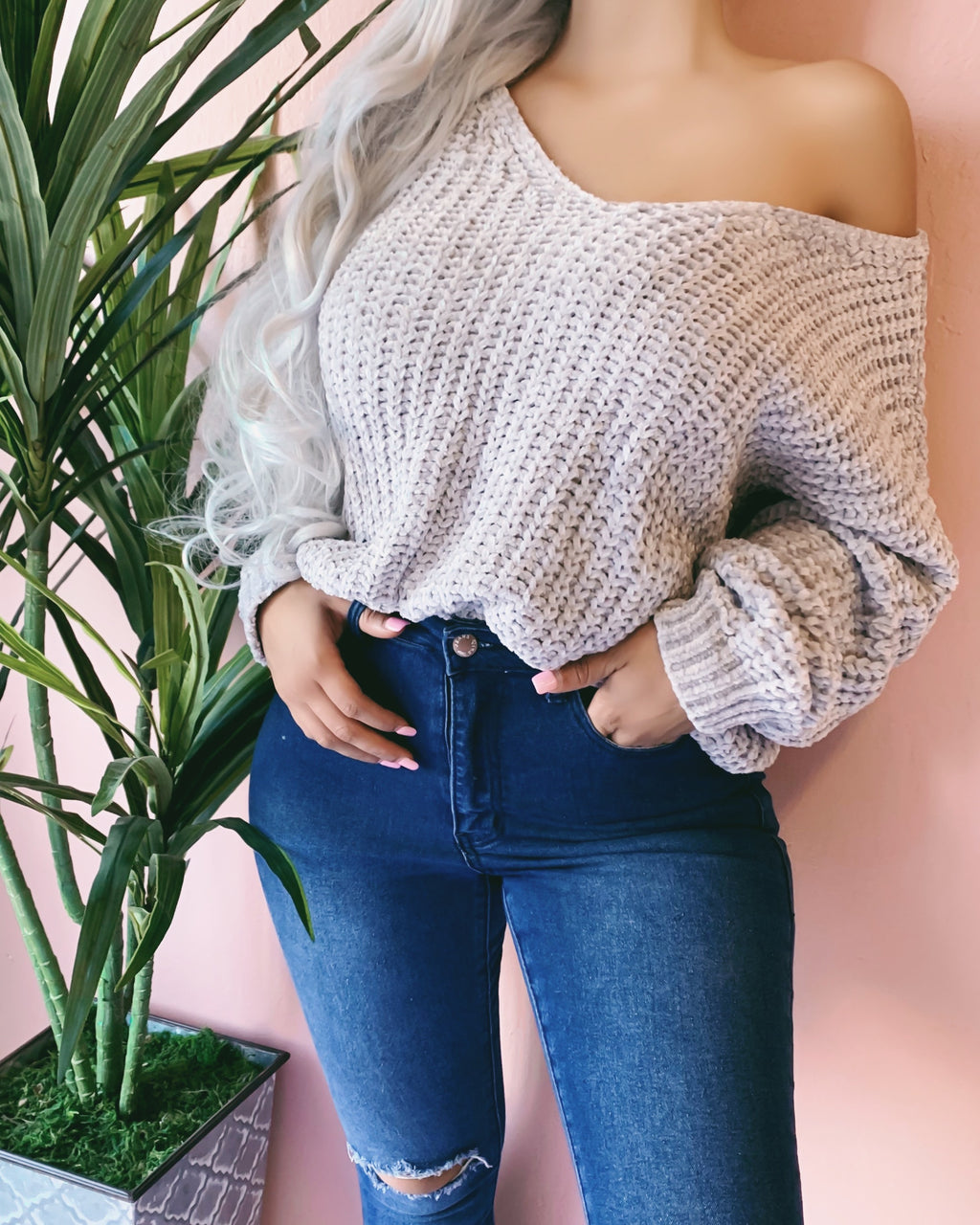 RESTOCKED! SOFTY OVERSIZED KNITTED SWEATER (GREY)