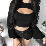 Tierra Cut Out Knit Top (BLACK)