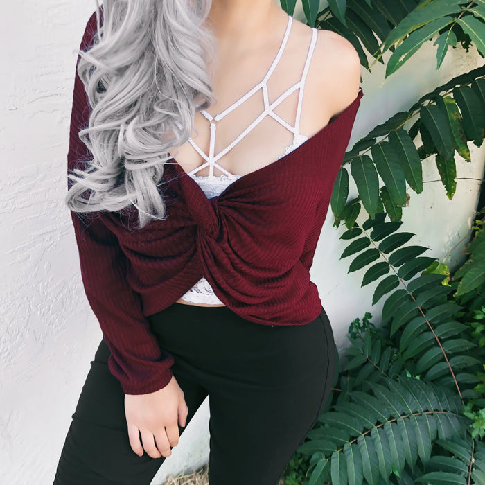 REVERSIBLE 2-IN-1 LAURA WAFFLE KNIT TOP (WINE) - FULLY STOCKED