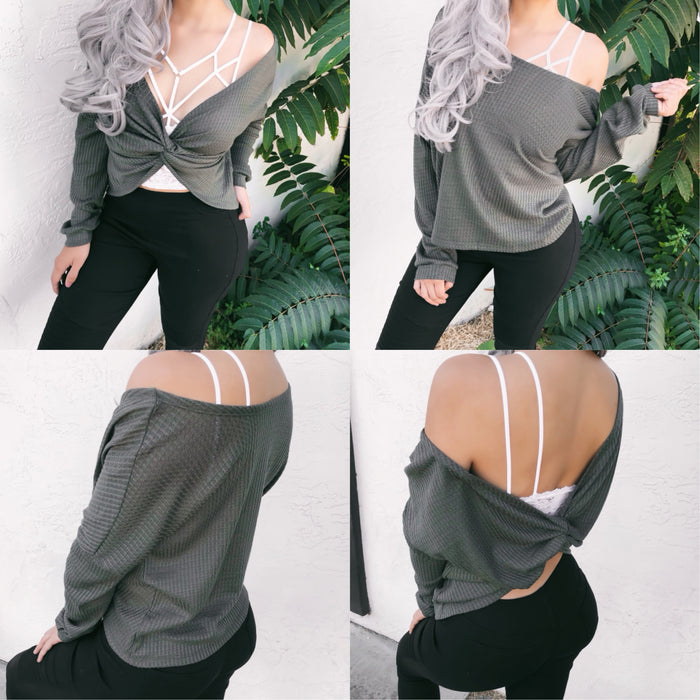 REVERSIBLE 2-IN-1 LAURA WAFFLE KNIT TOP (GREY) - FULLY STOCKED