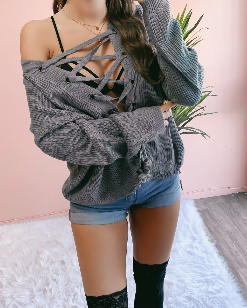 RESTOCKED! KIANA LACE UP OVERSIZED SWEATER (DARK GREY)