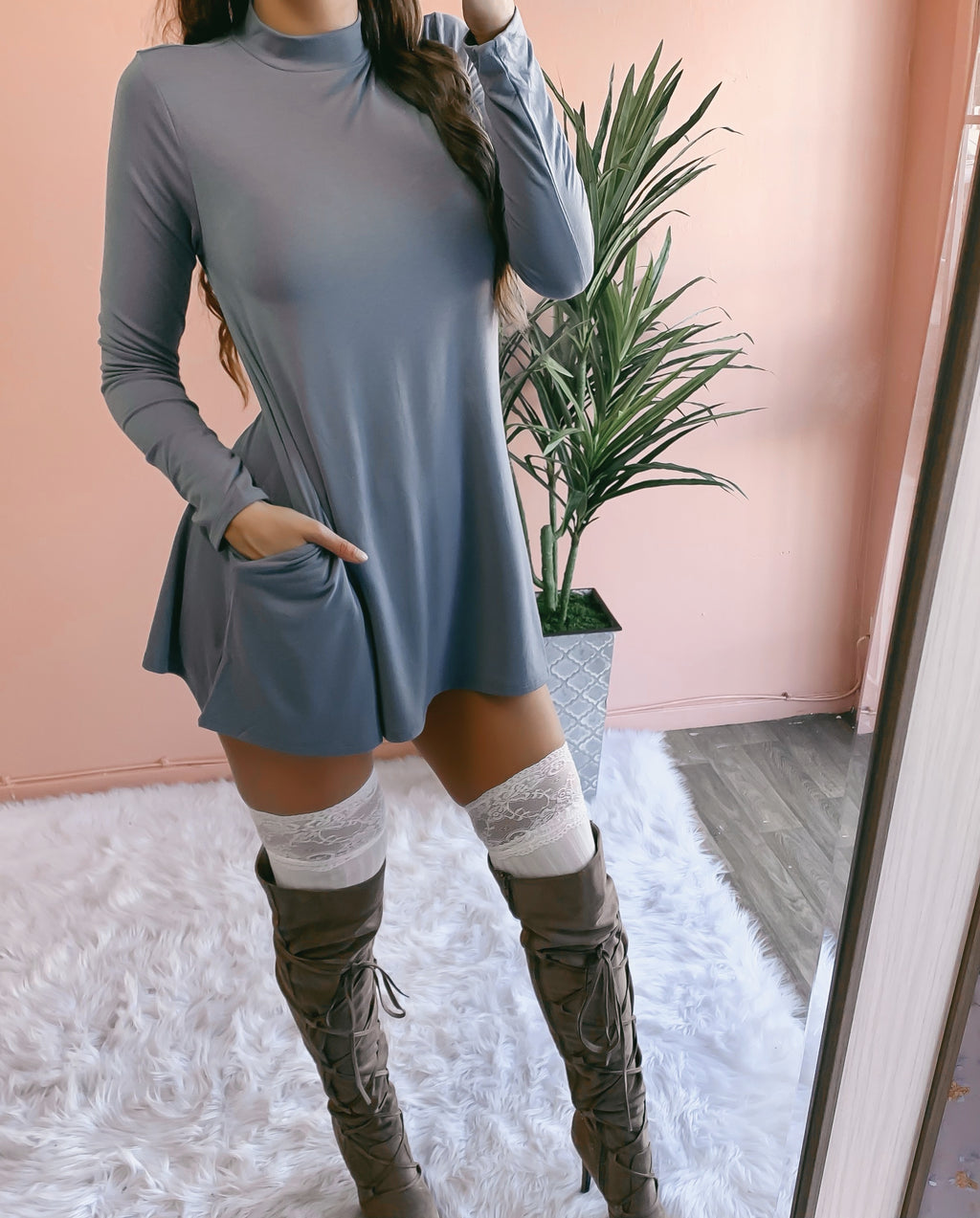 RESTOCKED! JENNA POCKET SWEATER DRESS (SLATE BLUE)