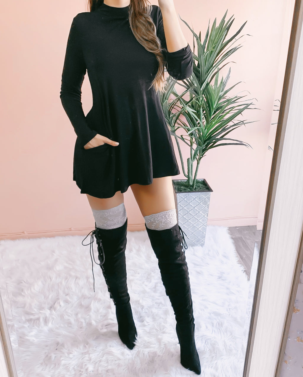 RESTOCKED! JENNA POCKET SWEATER DRESS (BLACK)