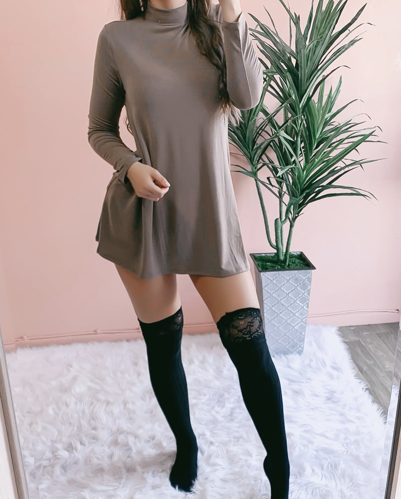 JENNA POCKET SWEATER DRESS (SLATE BLUE)