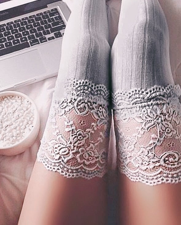RESTOCKED! DELILAH LACE THIGH HIGH SOCKS (GREY)