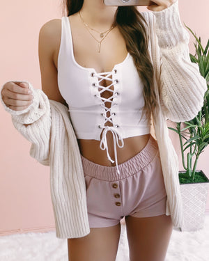 RESTOCKED! ADALYN LACE UP TANK TOP (BLUSH)