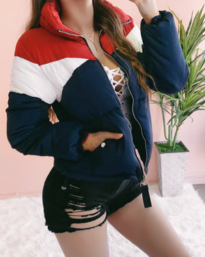 RESTOCKED! TOMMY PUFFER JACKET (NAVY/RED)