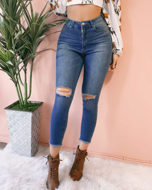 LILLY HIGH-WAIST DISTRESSED KNEE DENIM JEANS