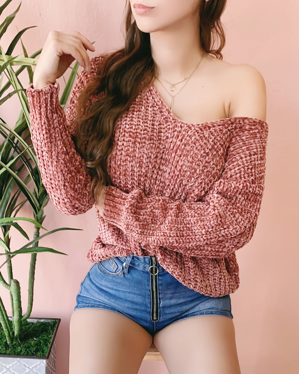 RESTOCKED! SOFTY OVERSIZED KNITTED SWEATER (ROSE)