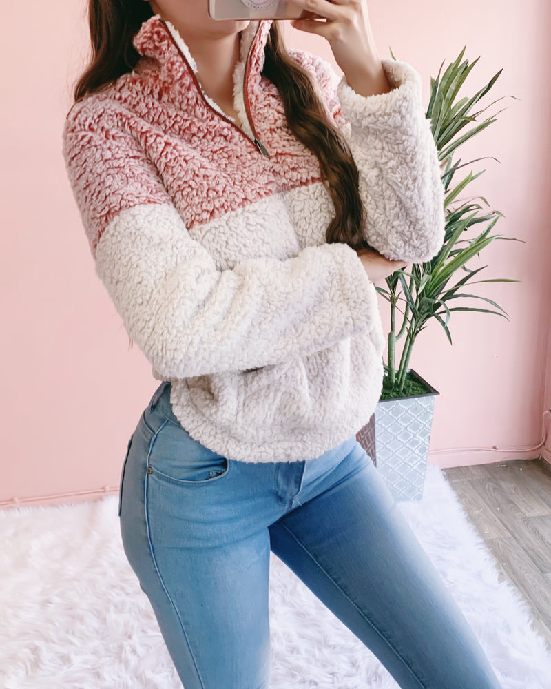 2-TONED ULTRA SOFT TEDDY SWEATER (BRICK)