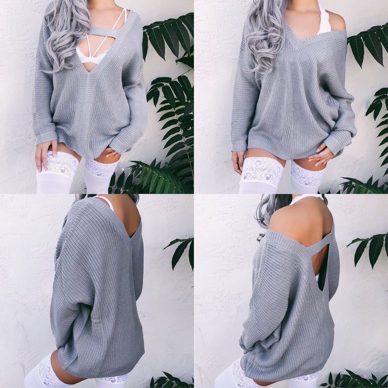 REVERSIBLE 2-IN-1 BRIA OVERSIZED KNITTED SWEATER (GREY) - FULLY STOCKED