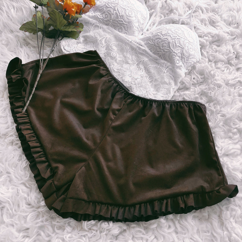Desert Dreams Ruffle Shorts (CHOCOLATE) - FULLY STOCKED