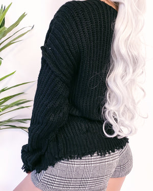 RESTOCKED! DANAH DISTRESSED KNITTED CARDIGAN (BLACK)