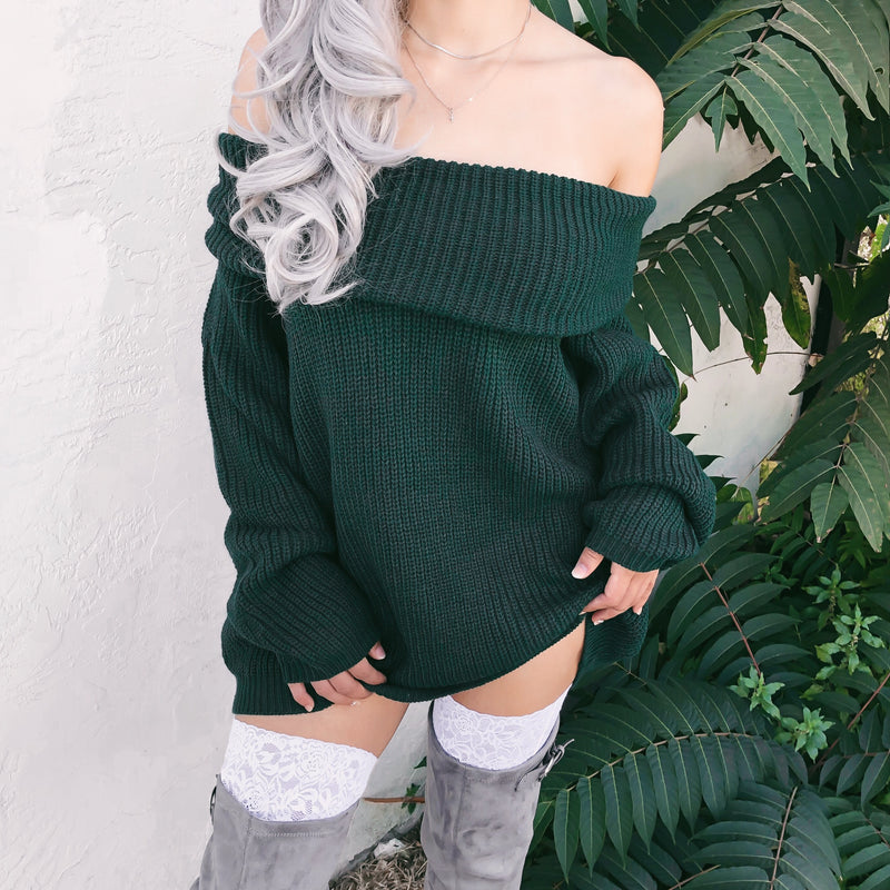 CHELSEA FLIRTY OFF SHOULDER OVERSIZED SWEATER (HUNTER GREEN) - LARGE/XLARGE