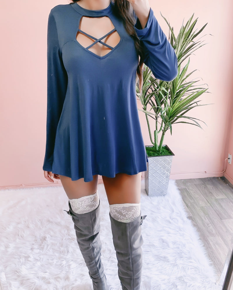 RESTOCKED! CINDY'S FAVE CRISS CROSS SWEATER DRESS (INDIGO)