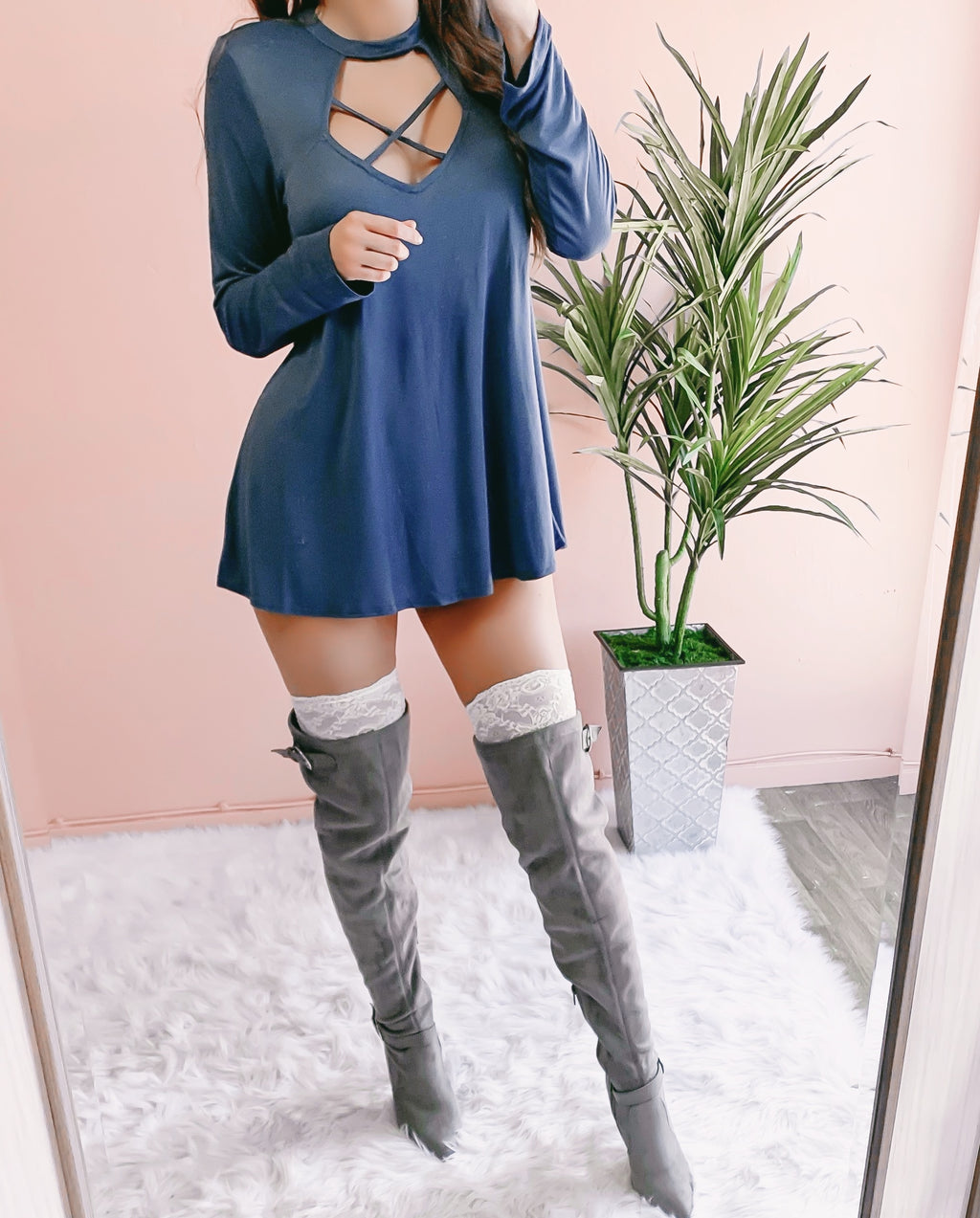 CINDY'S FAVE CRISS CROSS SWEATER DRESS (INDIGO)