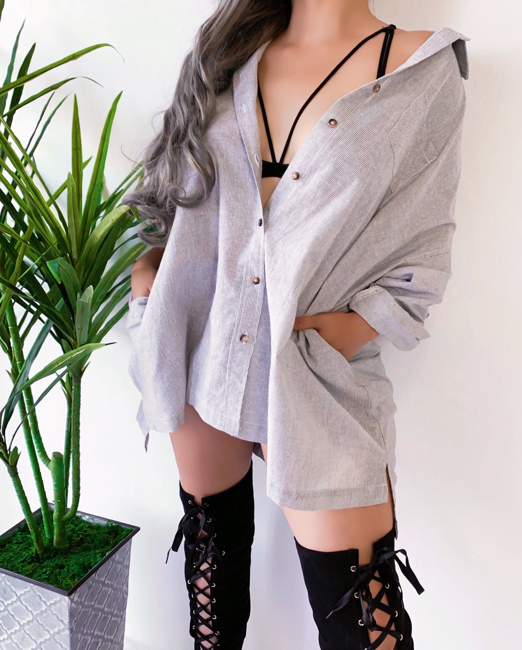 OVERNIGHT OVERSIZED BUTTON UP TOP/DRESS (GRAY)