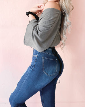 MALIAH DISTRESSED DENIM JEANS (DARK WASH)
