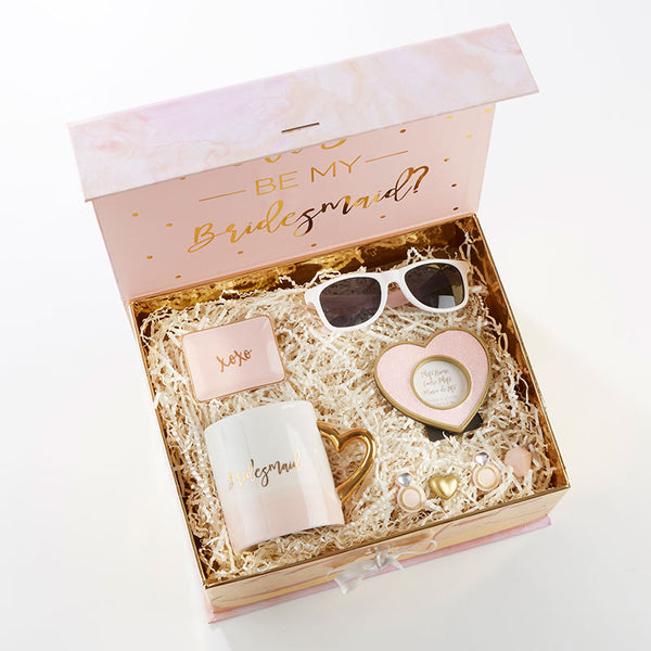 """Will you be my bridesmaid?"" Kits in Pink and Gold-Bridesmaid Gifts-Kate Aspen-Sweet Heart Details"