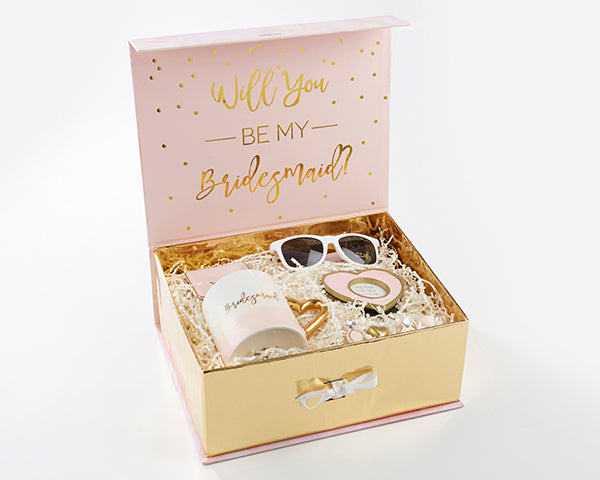 """Will you be my bridesmaid?"" Kits in Pink and Gold"