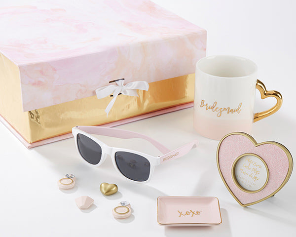 """Will you be my bridesmaid?"" Kits in Pink and Gold - Sweet Heart Details"