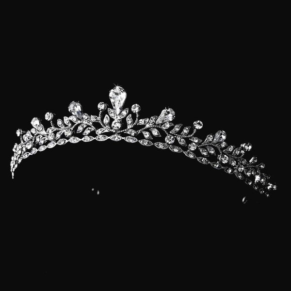 """The Amelia"" Delicate Silver Crystal Tiara - Sweet Heart Details"