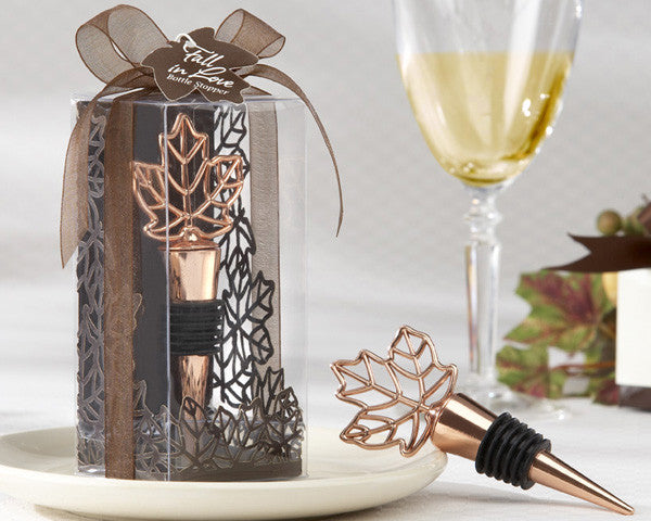 """Lustrous Leaf"" Copper-Finish Bottle Stopper (set of 10)-Wedding Favors & Favor Holders-Kate Aspen-11038NA-Sweet Heart Details"