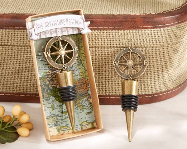 """Our Adventure Begins"" Bottle Stoppers (24)-Wedding Favors & Favor Holders-Kate Aspen-Sweet Heart Details"