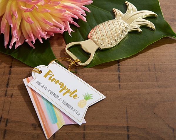 Gold Pineapple Bottle Openers-Wedding Favors & Favor Holders-Kate Aspen-Sweet Heart Details