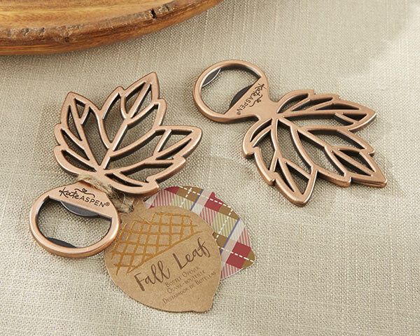Copper Leaf Bottle Opener (set of 10)-Wedding Favors & Favor Holders-Kate Aspen-11285NA-Sweet Heart Details